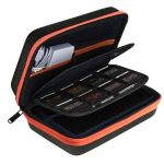 AUSTOR Travel Carrying Case Shell for Nintendo New 3DS XL (Black+Orange)