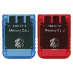 ZedLabz Memory card for Sony PS1 1MB 15 block PSX PlayStation one PSone (PS2 compatible*) - 2 pack red & blue