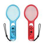 Bestico TennisRacquetforNintendoSwitchJoy-ConControllers,2PiecesTennisRacketforMarioTennisAces,ARMSandMotionSensingGames(Red&Blue)
