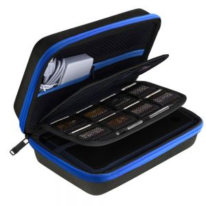 AUSTOR Travel Carrying Case Shell for Nintendo New 3DS XL (Black+Blue) for Nintendo 3DS